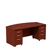 "Series C Bowfront Desk with Pedestals - 72""W, 8808132"
