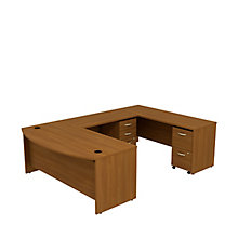 "Series C Bow Front U-Desk with Two Pedestals - 72""W, 8808138"