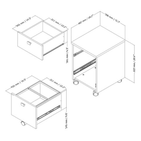 Interface Two Drawer Mobile File SSF 11118 on modern storage cabinets