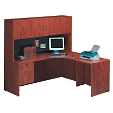 Cherry L-Desk with Right Return and Hutch, STL-6666R