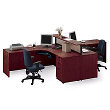 Cherry Two Person Workstation with Divider, STL-71712