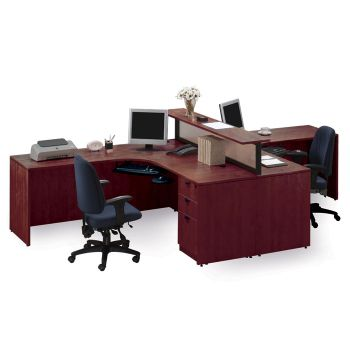 Cherry Two Person Workstation With Divider Stl 71712