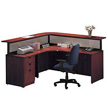 Cherry L Shaped Receptionist Desk With Left Return, STL-7171L