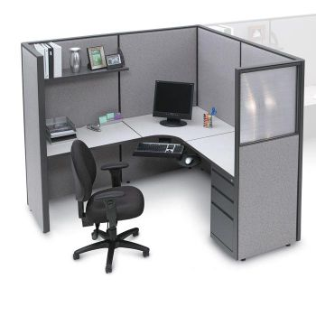 Pewter Haze Complete Cubicle With L Workstation And Box File Pedestal