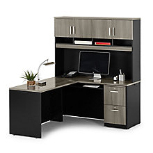 "Via Compact L-Desk with Hutch - 60""W, 8803867"
