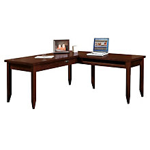 Tribeca Loft Cherry L Shaped Table Desk   Reversible, OFG DS1073