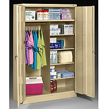 "Fully Assembled Steel Wardrobe/Supply Combo Cabinet - 48""W x 24""D x 78""H, 8804076"