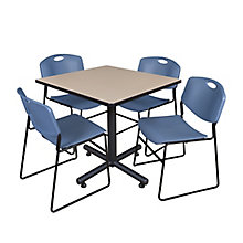 "42"" Sq Breakroom Table- & 4 Ze, 8821892"