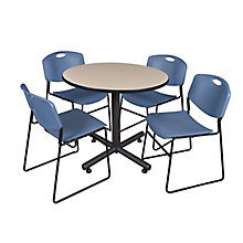"42"" Rd Breakroom Table- & 4 Ze, 8821897"