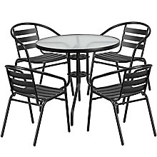 Table and 4 Stack Chair Set, 8812505