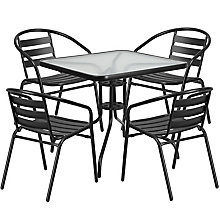Table and 4 Stack Chair Set, 8812508