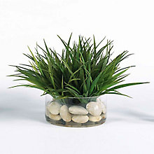 "12""H Faux Grass in Glass Container, 8813495"