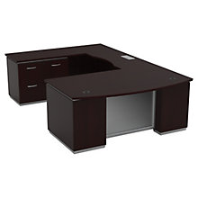 "Three File Pedestal U-Shape Desk with Left Bridge - 72""W x 114""D, 8828073"