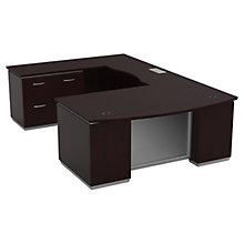 "Three File Pedestal U-Shape Desk with Left Bridge - 72""W x 114""D, 8828073"