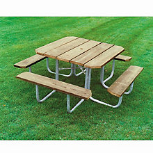 Square Pressure Treated Wood Picnic Table, ULT-358-PT48