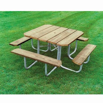 Square Pressure Treated Wood Picnic Table OfficeFurniturecom - Pressure treated wood picnic table