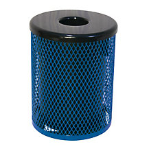 Diamond-Pattern Steel 32 Gallon Waste Receptacle, ULT-EX32-FT32