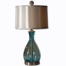 Mena Clear Blue Glass Table Lamp, UTT-27862-1