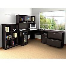 Cabot L-Desk with Hutch, Lateral File and Bookcase, 8804878