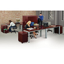 Compact L-Desk Workstation Set for Four People, 8803891