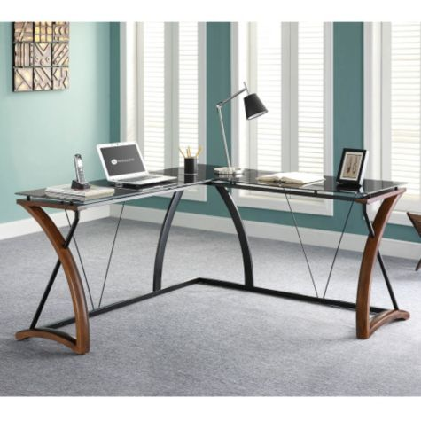 opaque glass top l desk with right return 61 8801323