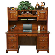 "Zahara Double Pedestal Desk with Hutch - 66""W, 8804703"