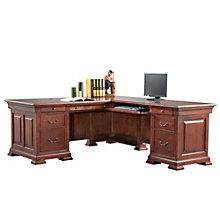 """Classic Cherry Double Pedestal L-Desk - 72.5""""W, 8803286"""
