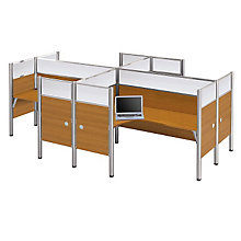 Pro Biz Four Person L-Desk Workstation with Plexiglass Panels, BES-100859D