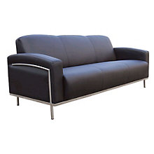 Black Vinyl Reception Sofa, 8803690