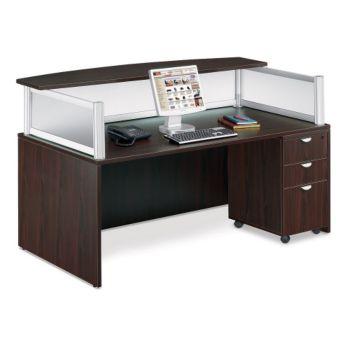 Modern reception desk w pedestal by officient for Reception mobile
