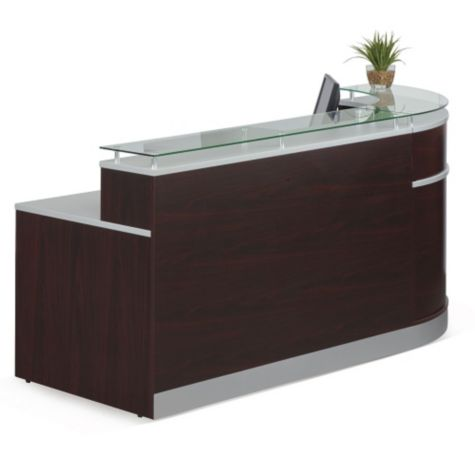 Glass Top Reception Desk 95w X 64d 8803480