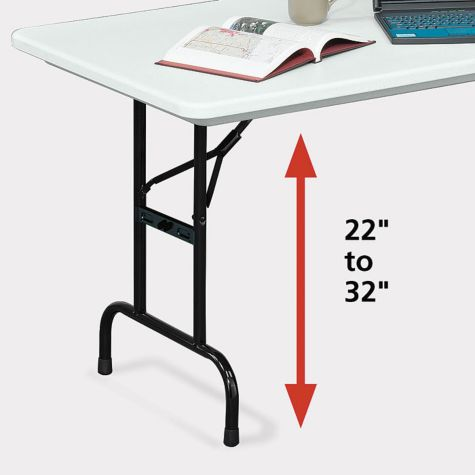 Height-adjustable legs.