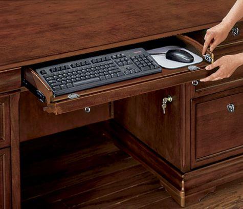 Flip down center drawer/keyboard tray
