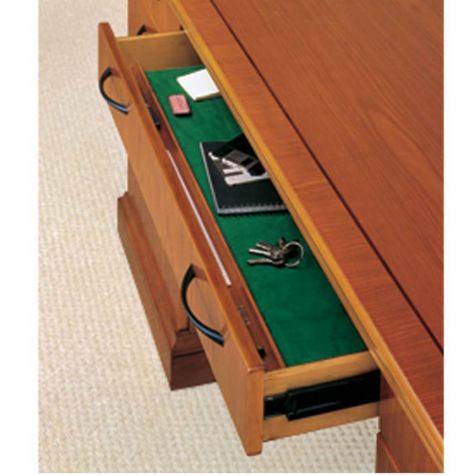 Felt lined center drawer