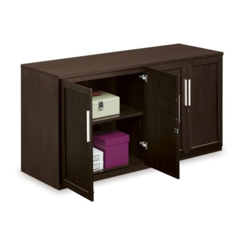 Inside of buffet credenza
