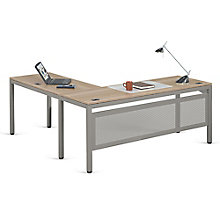 "Executive L-Desk with Modesty Panel in Warm Ash - 72""W x 72""D, 8804001"