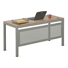 "Compact Table Desk with Modesty Panel in Warm Ash - 60""W x 24""D, 8804005"