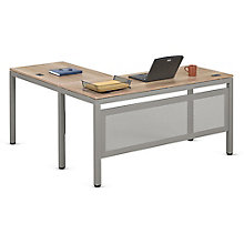 "Compact L-Desk with Modesty Panel in Warm Ash - 60""W x 60""D, 8804002"