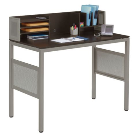 Close up of standing height desk with organizer