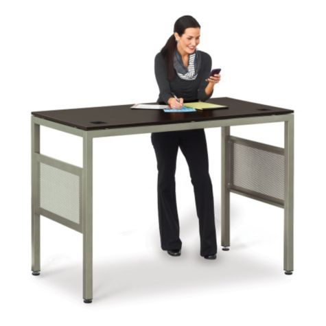 "At 42"" high, the desk serves as a standing height"
