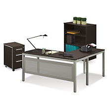 At Work L-Desk with Mobile Pedestal and Bookcase Set, 8825224
