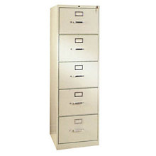 "26-1/2""D 5 Drawer Legal File Cabinet with Lock, HON-315CP"