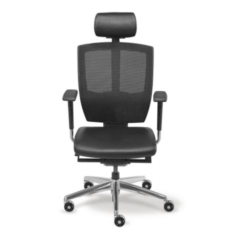 Front view of chair shown with headrest