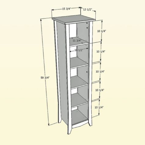 Bookcase dimensional drawing