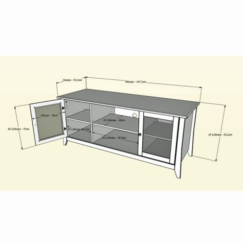 Dimensional drawing TV stand
