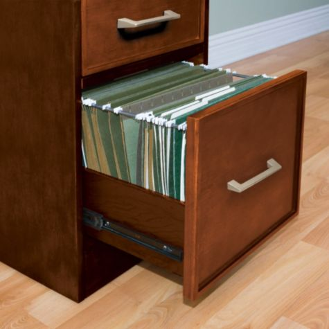 Full-extension file drawers open smoothly.