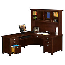 Tribeca Loft Cherry L-Desk with Hutch - Right or Left Return, 8826946