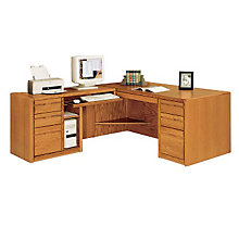 Medium Oak Computer L-Desk with Left Return, OFG-LD0025