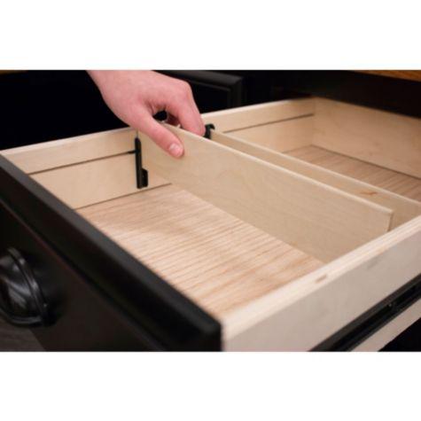 Utility drawer slots adjust