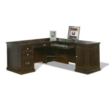 Fulton Espresso Compact L Desk With Lateral File